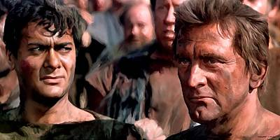 Kirk Douglas And Tony Curtis In The Film Spartacus Art Print