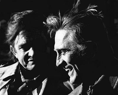 Judge Roy Bean Photograph - Kirk Douglas Laughing Johnny Cash Old Tucson Arizona 1971 by David Lee Guss