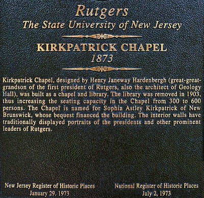 Photograph - Kirkpatrick Chapel - Commemorative Plaque by Allen Beatty