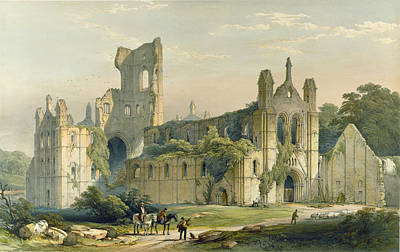 Portal Drawing - Kirkstall Abbey From The North West by William Richardson