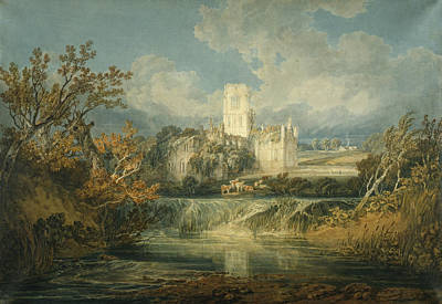 Yorkshire Drawing - Kirkstall Abbey, Yorkshire, 1797 by Joseph Mallord William Turner