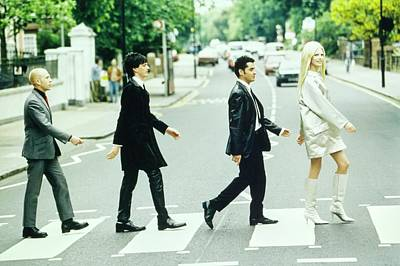 Silver Photograph - Kirsty Hume Walks Across Abbey Road In Gianni by Arthur Elgort