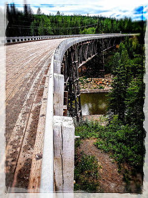 Photograph - Kiskatinaw Curved Wooden Bridge  by Roxy Hurtubise
