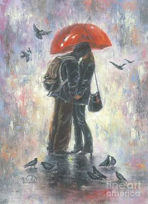 Under The Red Wall Painting - Kiss After School by Vickie Wade