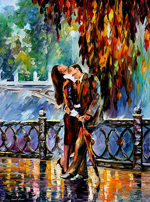 Kiss After The Rain - Palette Knife Oil Painting On Canvas By Leonid Afremov Original by Leonid Afremov