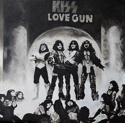 Album Covers Drawing - Kiss Drawing by Tony Orcutt