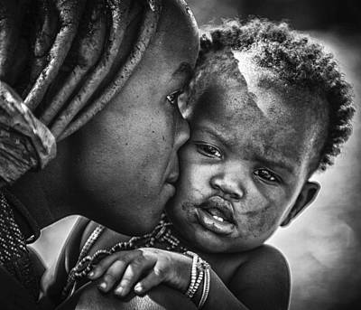 Caring Mother Photograph - Kiss From Beautiful Himba Mom by Pavol Stranak