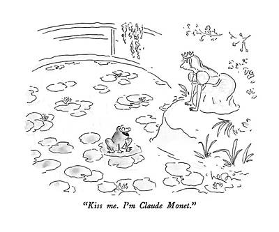 Lily Pad Pond Drawing - Kiss Me.  I'm Claude Monet by Arnie Levin
