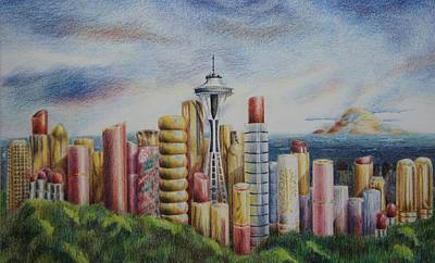 Kiss Of Seattle Art Print by Mary Jo Jung