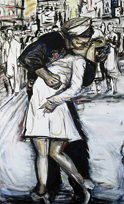 Kiss On Broadway Art Print by Hannah Curran