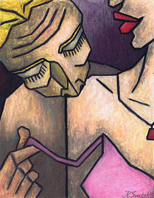 Oil Pastel On Paper Painting - Kiss On The Shoulder by Kamil Swiatek