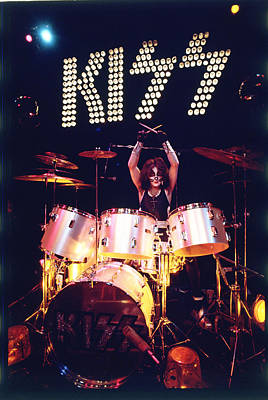 Drummer Photograph - Kiss - Peter Criss 1973 by Epic Rights