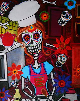 Mexican Town Painting - Kiss The Cook by Pristine Cartera Turkus