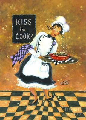 Kiss The Cook Art Print by Vickie Wade