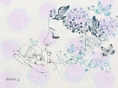 Kiss To A New Born Art Print