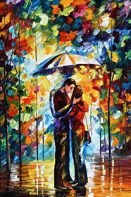 Gentlemen Painting - Kiss Under The Rain 2 by Leonid Afremov