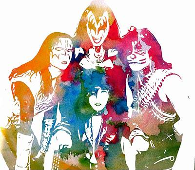 Kiss Watercolor Pop Art Art Print by Dan Sproul