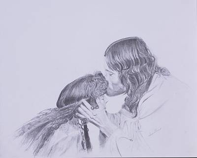 Pencil Drawing Of Jesus Drawing - Kissed By Redemption From The Life Of Jesus Series by Susan Harris