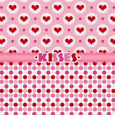 Valentines Day Digital Art - Kisses by Debra  Miller