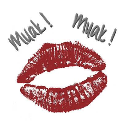 Lips Digital Art - Kisses by Gina Dsgn