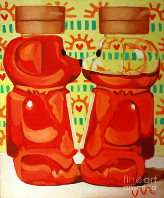 Honey Painting - Kissing Bears by Jayne Morgan
