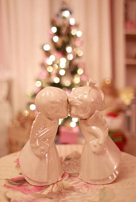 Photograph - Kissing Christmas Angels by Barbara West