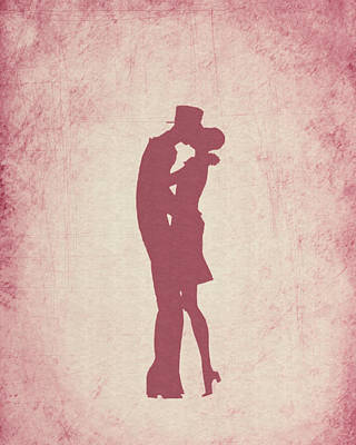 Valentines Day Digital Art - Kissing Couple Design by World Art Prints And Designs
