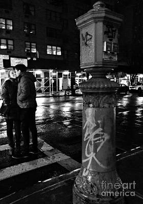Photograph - Kissing Couple - Night - New York City by Miriam Danar