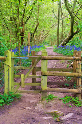 Woodlands Scene Mixed Media - Kissing Gate Painting. by Roy Pedersen