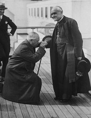 Ambassador Photograph - Kissing Hand Of Cardinal by Underwood Archives