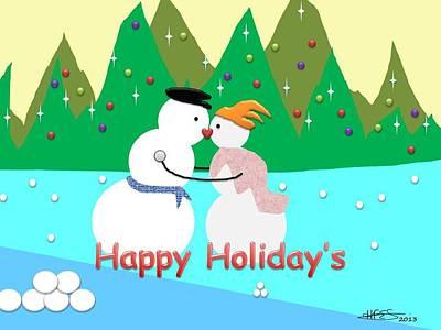 Kissing Snowman Original