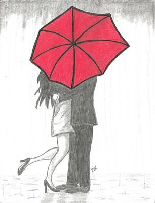 Rain Drawing - Kissing Umberlla by Ray Ratzlaff