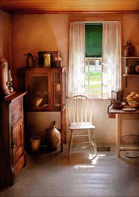 Kitchen - A Cottage Kitchen  Art Print by Mike Savad