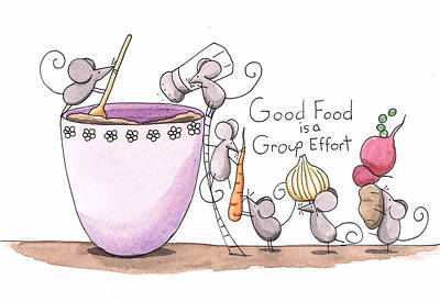 Mouse Drawing - Kitchen Art Cooking Mice by Christy Beckwith
