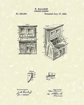 Drawing - Kitchen Cabinet 1894 Patent Art by Prior Art Design