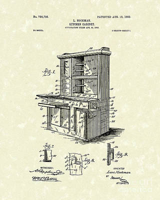 Drawing - Kitchen Cabinet 1903 Patent Art by Prior Art Design