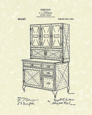 Drawing - Kitchen Cabinet 1914 Patent Art by Prior Art Design