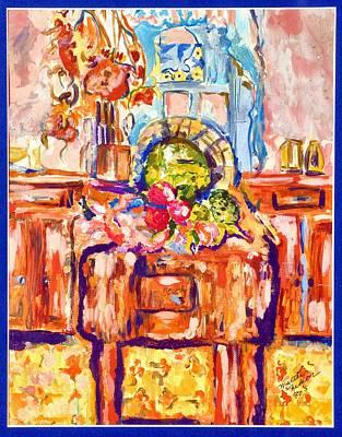 Fruit Bowl Window Painting - Kitchen Chopping Block  by Martha Nelson