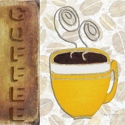 Whimsical Art Painting - Kitchen Cuisine Hot Cuppa No87 V4 By Romi And Megan by Megan Duncanson