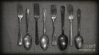 Vintage Photograph - Kitchen Dining Utensils Of Silverware And Flatware With Forks Sp by ELITE IMAGE photography By Chad McDermott