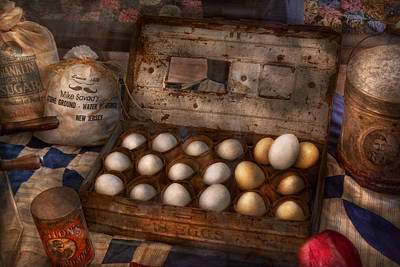 Kitchen - Food - Eggs - 18 Eggs  Art Print by Mike Savad