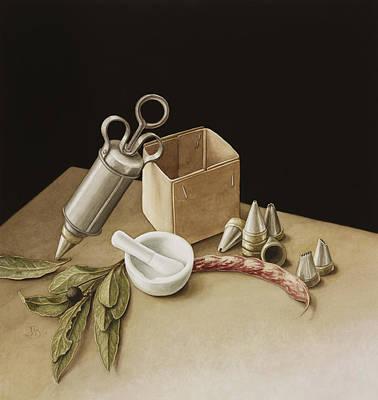 Desk Painting - Kitchen Geometry by Jenny Barron