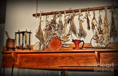 Mortar Photograph - Kitchen - Herbs Drying Over The Mantel by Paul Ward
