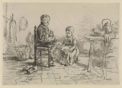 Wooden Bowls Drawing - Kitchen Interior With Two Children, Jozef Israls by Jozef Isra?ls