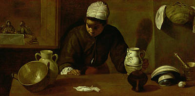 Jesus Photograph - Kitchen Maid With The Supper At Emmaus, C.1618 Oil On Canvas by Diego Rodriguez de Silva y Velazquez