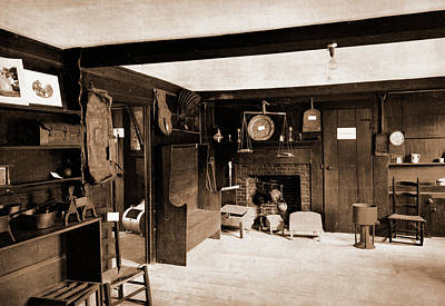Haunted House Drawing - Kitchen Of The John Hancock House, Lexington, Hancock by Litz Collection