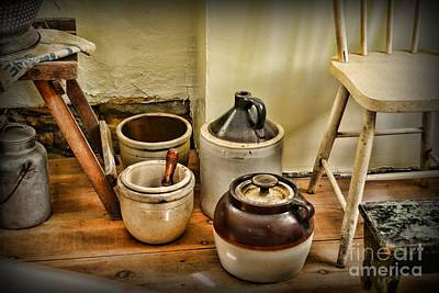 Crocks Photograph - Kitchen Old Stoneware by Paul Ward