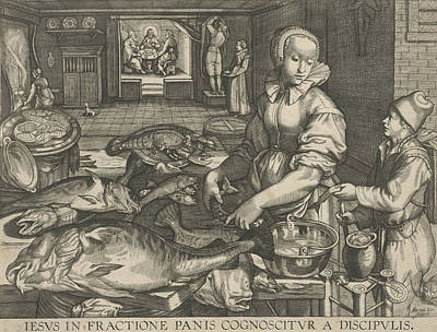 Master Piece Drawing - Kitchen Piece Of Woman Cleaning Fish, Abraham Van Lier by Artokoloro