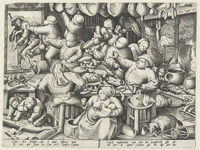 French Door Drawing - Kitchen, Pieter Van Der Heyden, Hieronymus Cock by Pieter Van Der Heyden And Hieronymus Cock