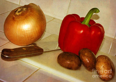 Digital Art - Kitchen Prep by Peggy Hughes